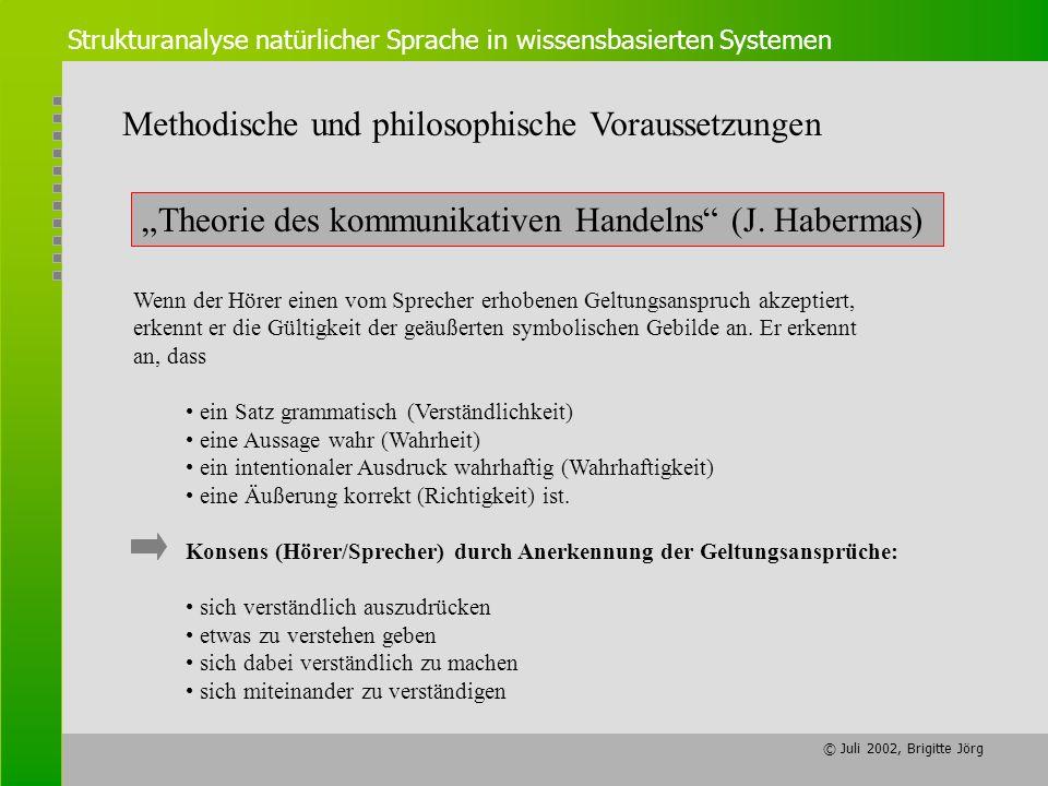 © Juli 2002, Brigitte Jörg Strukturanalyse natürlicher Sprache in wissensbasierten Systemen Theorie des kommunikativen Handelns (J. Habermas) Methodis