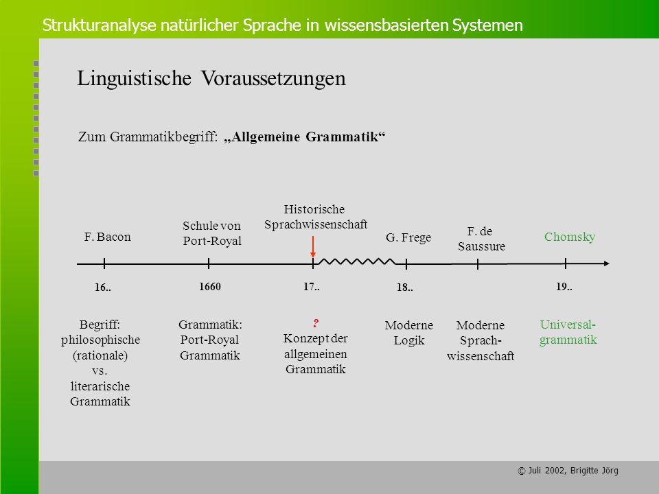 © Juli 2002, Brigitte Jörg Strukturanalyse natürlicher Sprache in wissensbasierten Systemen Linguistische Voraussetzungen Zum Grammatikbegriff: Allgem