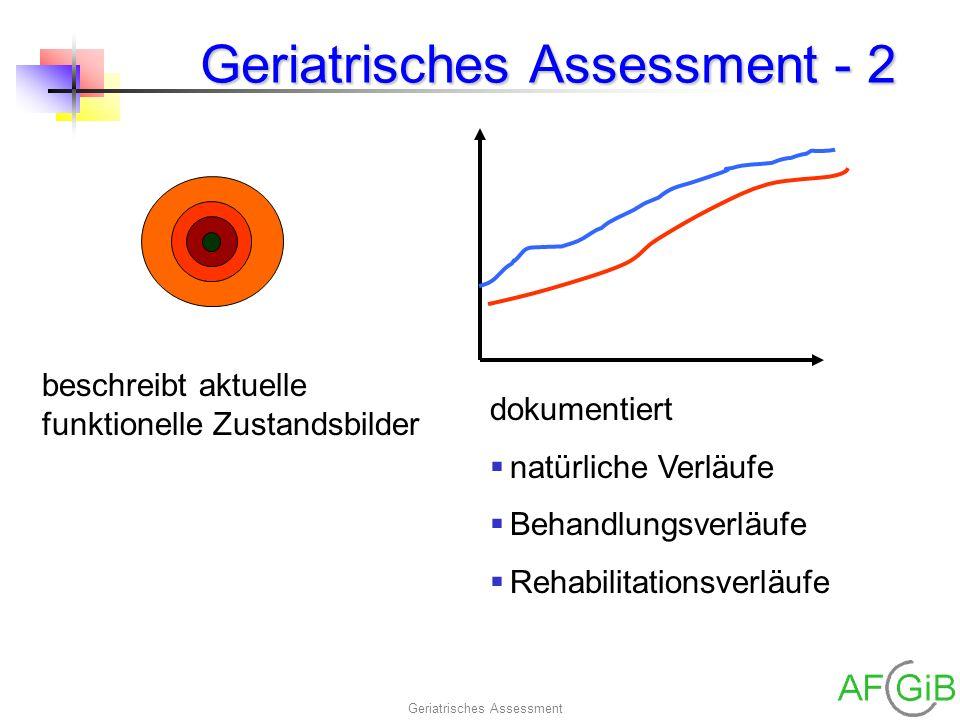 Geriatrisches Assessment Geriatrisches Assessment - 2 beschreibt aktuelle funktionelle Zustandsbilder dokumentiert natürliche Verläufe Behandlungsverl