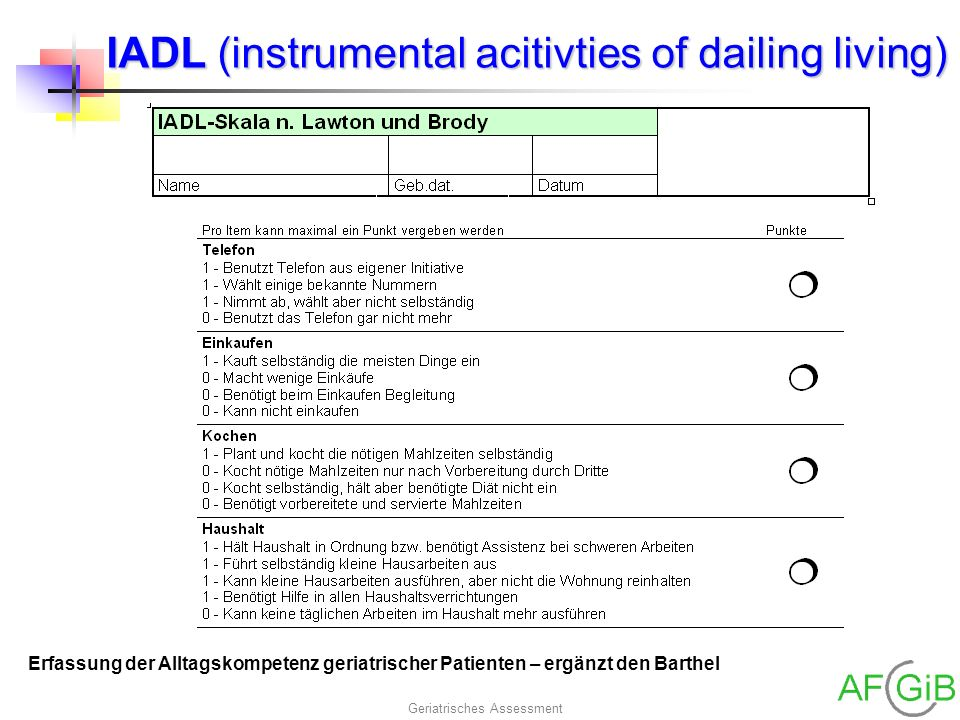 Geriatrisches Assessment IADL (instrumental acitivties of dailing living) Erfassung der Alltagskompetenz geriatrischer Patienten – ergänzt den Barthel