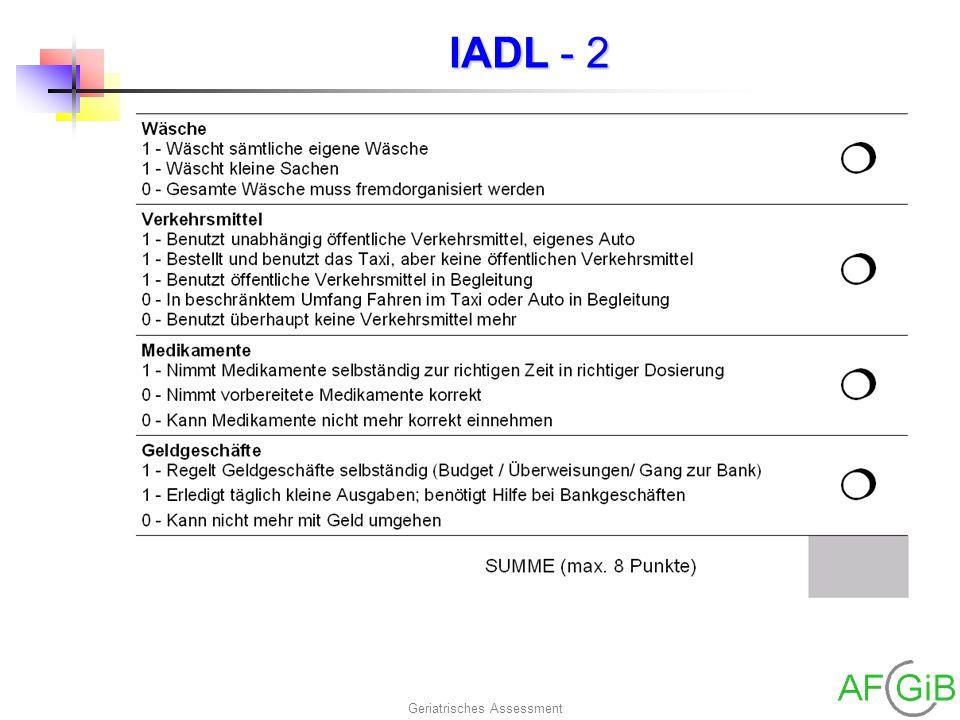 Geriatrisches Assessment IADL - 2