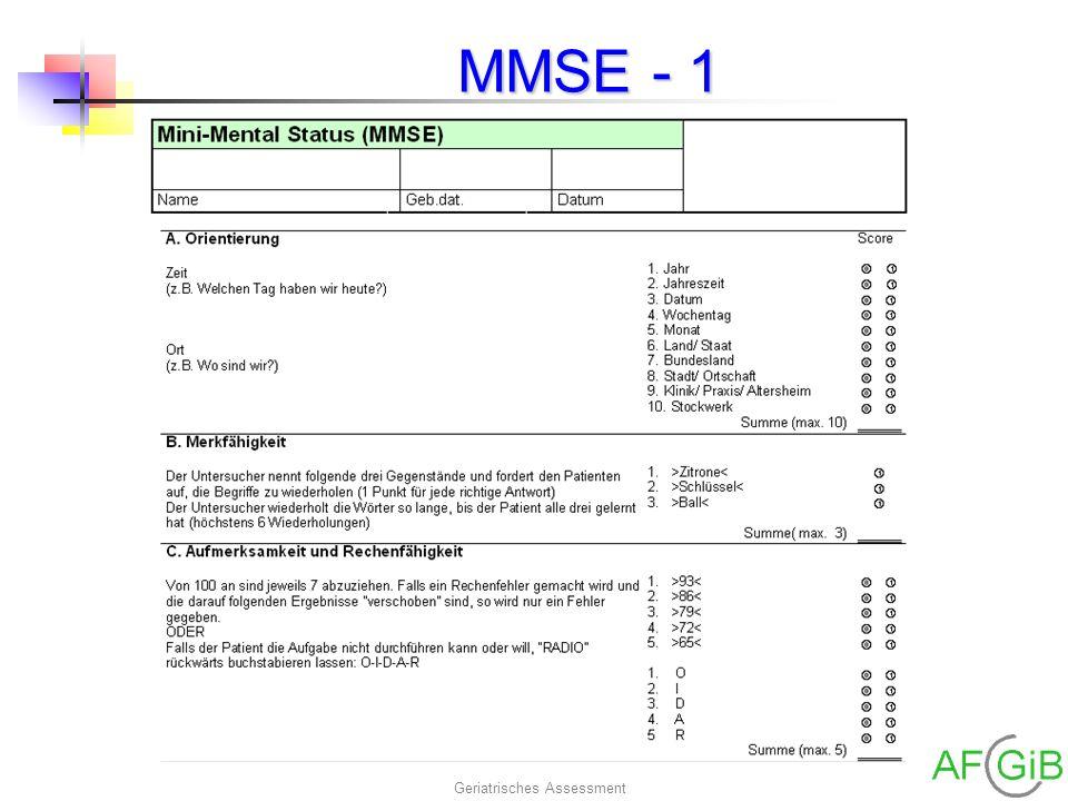 Geriatrisches Assessment MMSE - 1