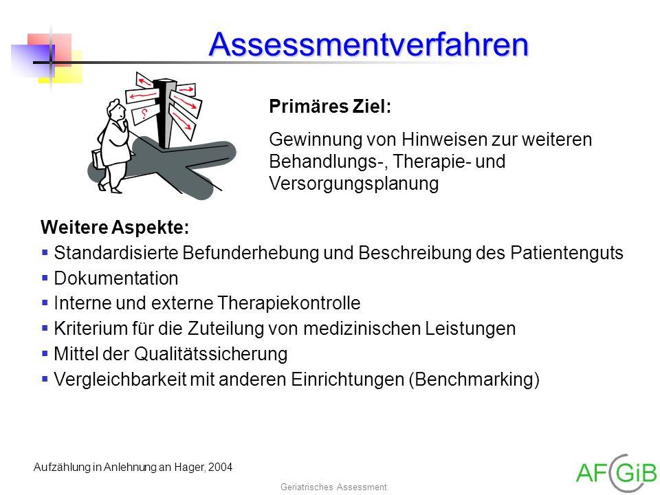Geriatrisches AssessmentAssessmentverfahren Primäres Ziel: Gewinnung von Hinweisen zur weiteren Behandlungs-, Therapie- und Versorgungsplanung Weitere