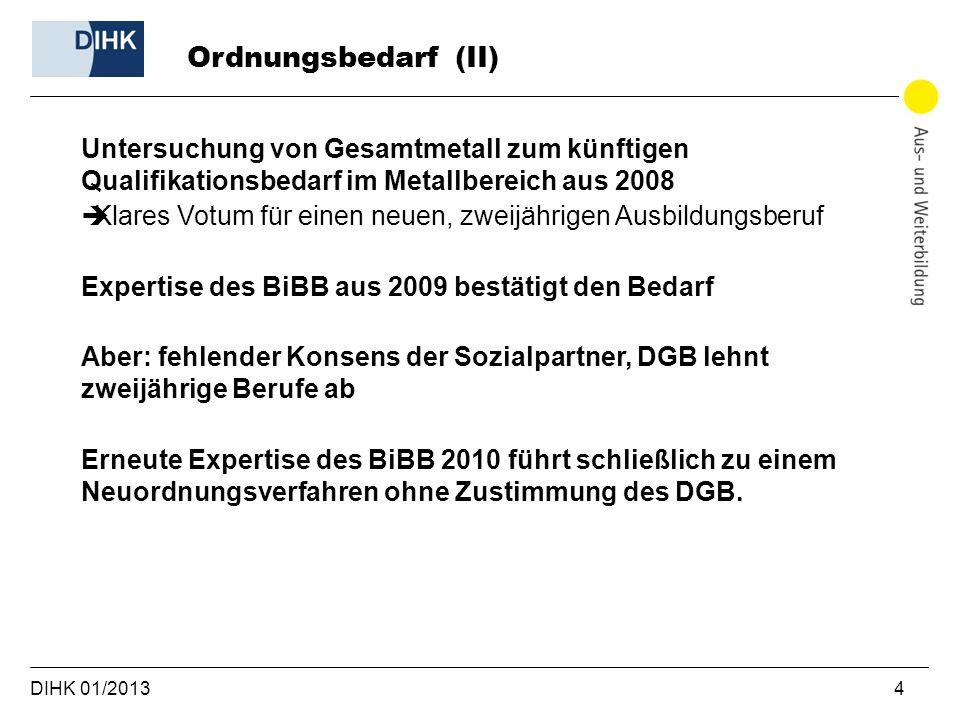 DIHK 01/2013 4 Untersuchung von Gesamtmetall zum künftigen Qualifikationsbedarf im Metallbereich aus 2008 Klares Votum für einen neuen, zweijährigen A