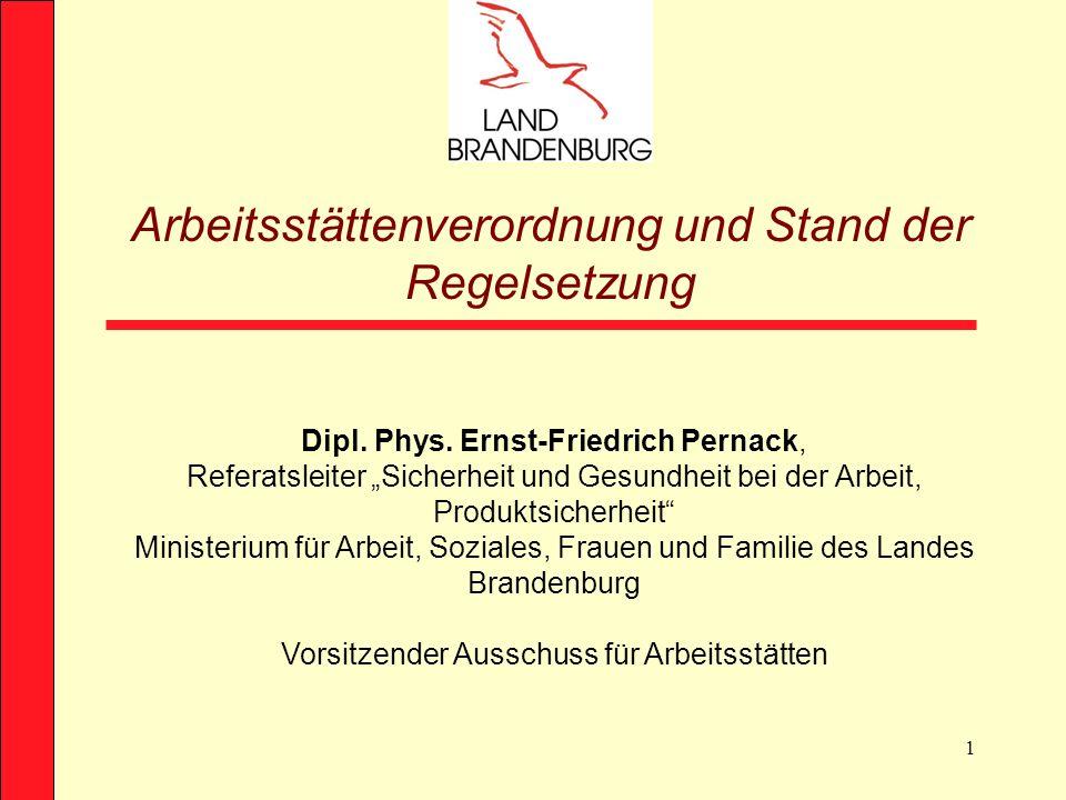 1 Dipl. Phys. Ernst-Friedrich Pernack, Referatsleiter Sicherheit und Gesundheit bei der Arbeit, Produktsicherheit Ministerium für Arbeit, Soziales, Fr