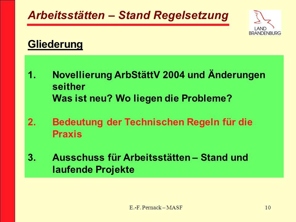 E.-F. Pernack – MASF10 Arbeitsstätten – Stand Regelsetzung Gliederung 1.Novellierung ArbStättV 2004 und Änderungen seither Was ist neu? Wo liegen die