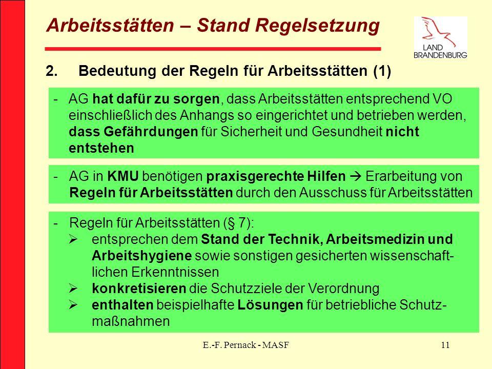 E.-F. Pernack - MASF11 Arbeitsstätten – Stand Regelsetzung 2.Bedeutung der Regeln für Arbeitsstätten (1) -AG hat dafür zu sorgen, dass Arbeitsstätten