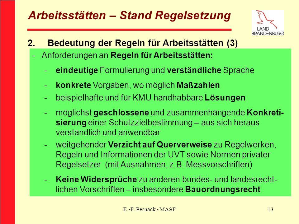 E.-F. Pernack - MASF13 Arbeitsstätten – Stand Regelsetzung 2.Bedeutung der Regeln für Arbeitsstätten (3) -Anforderungen an Regeln für Arbeitsstätten: