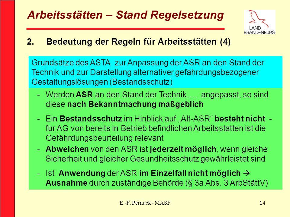 E.-F. Pernack - MASF14 Arbeitsstätten – Stand Regelsetzung 2.Bedeutung der Regeln für Arbeitsstätten (4) Grundsätze des ASTA zur Anpassung der ASR an