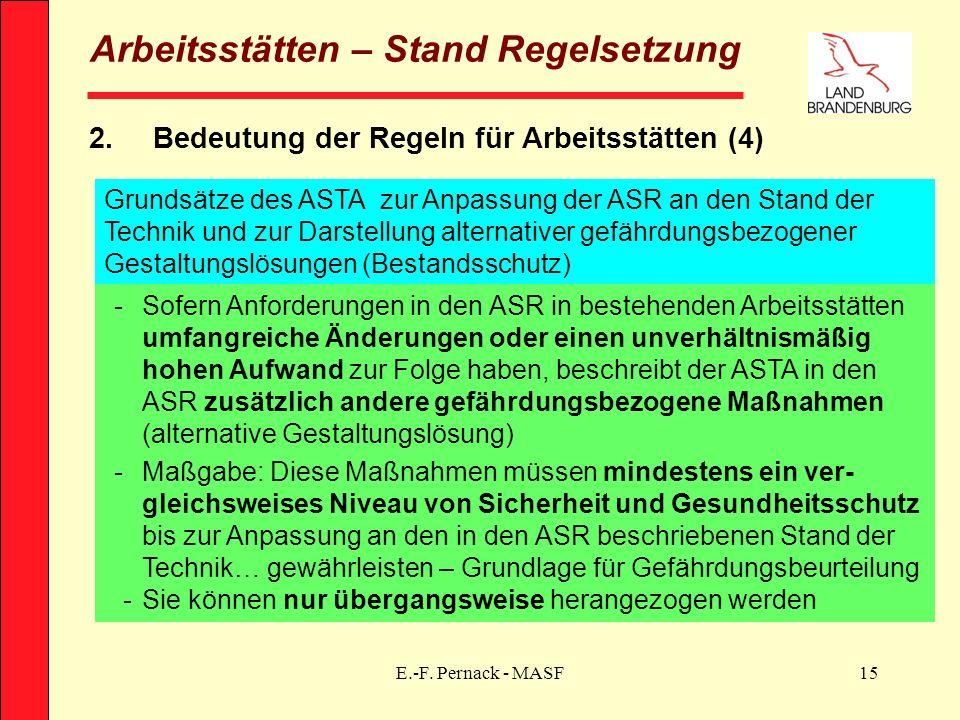 E.-F. Pernack - MASF15 Arbeitsstätten – Stand Regelsetzung 2.Bedeutung der Regeln für Arbeitsstätten (4) Grundsätze des ASTA zur Anpassung der ASR an