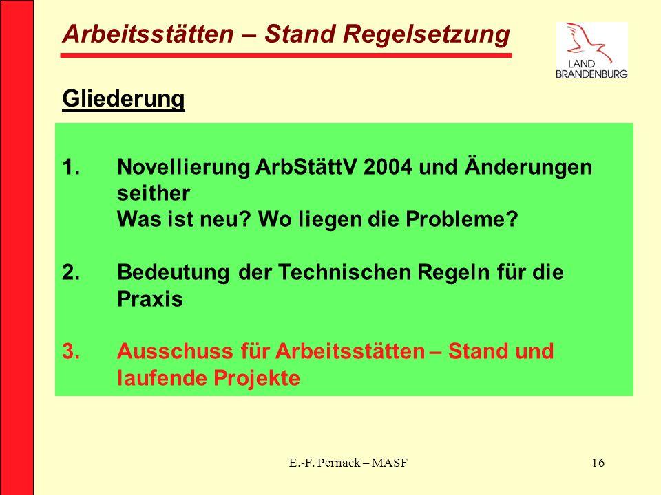 E.-F. Pernack – MASF16 Arbeitsstätten – Stand Regelsetzung Gliederung 1.Novellierung ArbStättV 2004 und Änderungen seither Was ist neu? Wo liegen die