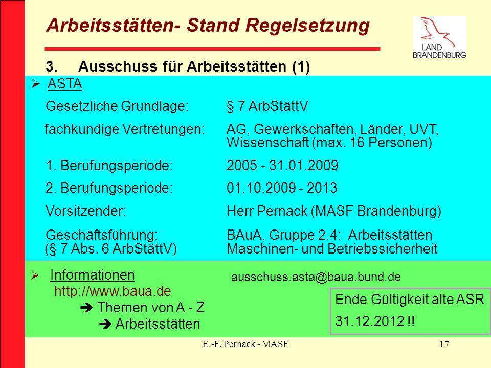 E.-F. Pernack - MASF17 Arbeitsstätten- Stand Regelsetzung 3.Ausschuss für Arbeitsstätten (1) ASTA Gesetzliche Grundlage:§ 7 ArbStättV fachkundige Vert