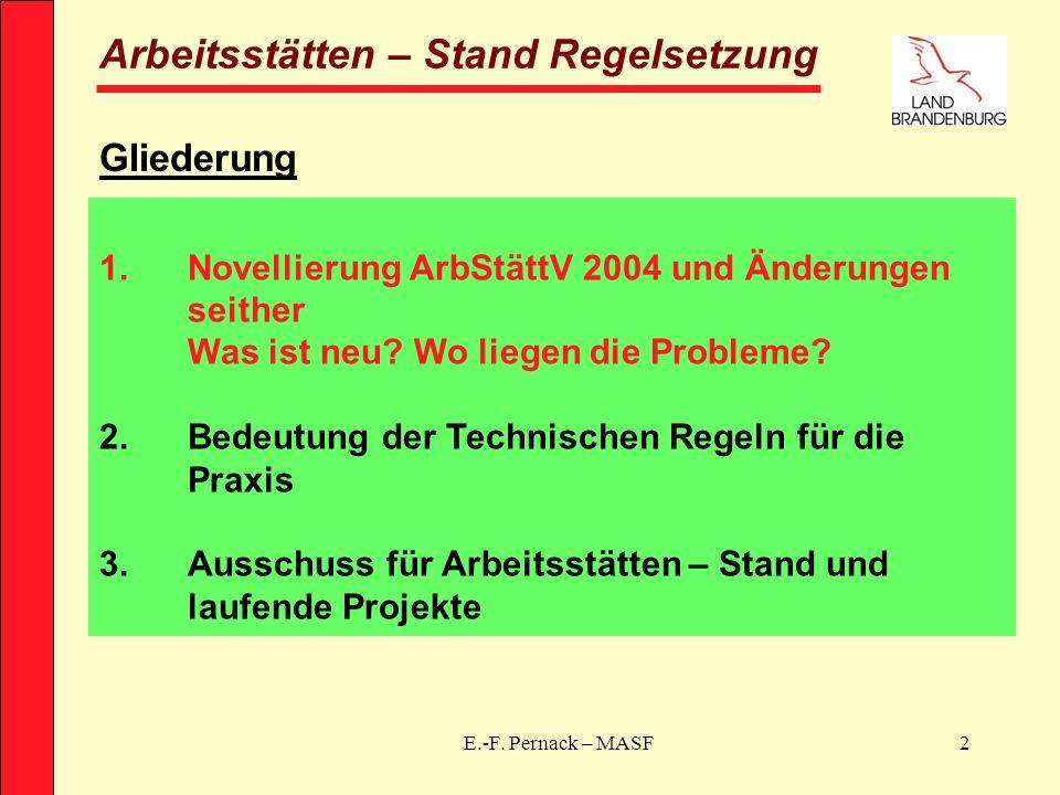 E.-F. Pernack – MASF2 Arbeitsstätten – Stand Regelsetzung Gliederung 1.Novellierung ArbStättV 2004 und Änderungen seither Was ist neu? Wo liegen die P