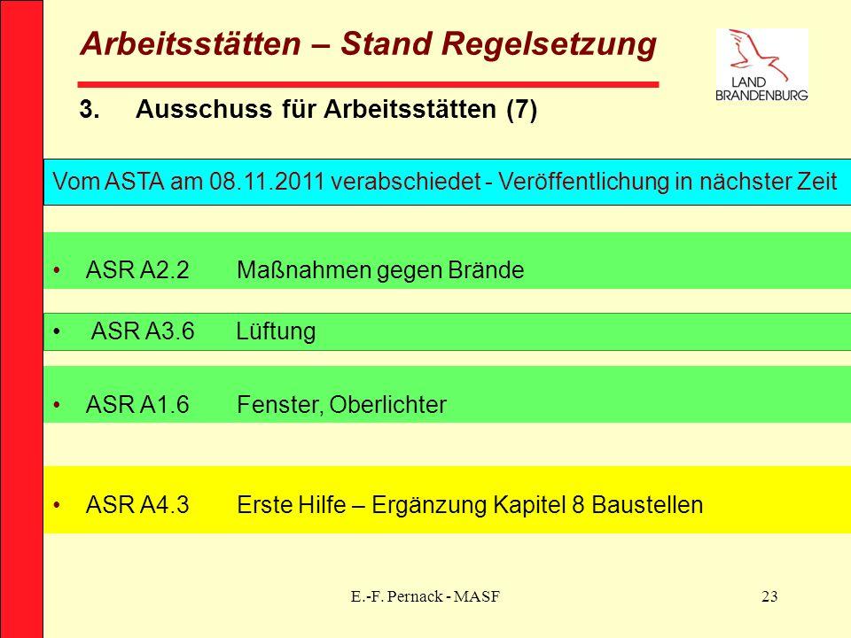 E.-F. Pernack - MASF23 Arbeitsstätten – Stand Regelsetzung 3.Ausschuss für Arbeitsstätten (7) Vom ASTA am 08.11.2011 verabschiedet - Veröffentlichung