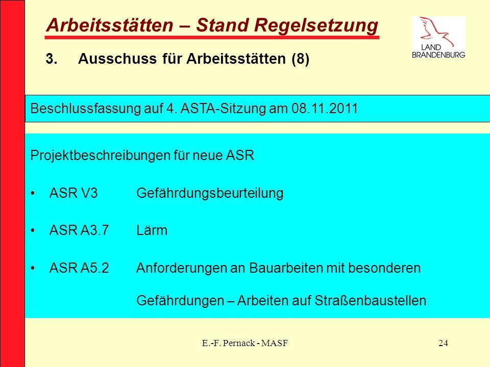 E.-F. Pernack - MASF24 Arbeitsstätten – Stand Regelsetzung 3.Ausschuss für Arbeitsstätten (8) Beschlussfassung auf 4. ASTA-Sitzung am 08.11.2011 Proje