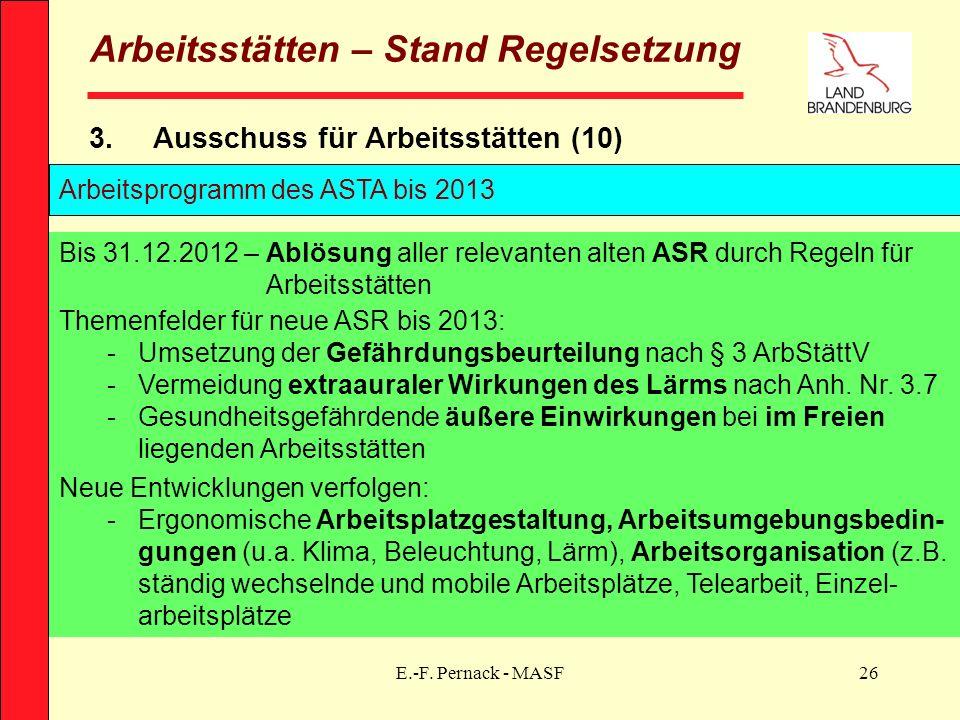 E.-F. Pernack - MASF26 Arbeitsstätten – Stand Regelsetzung 3.Ausschuss für Arbeitsstätten (10) Bis 31.12.2012 – Ablösung aller relevanten alten ASR du