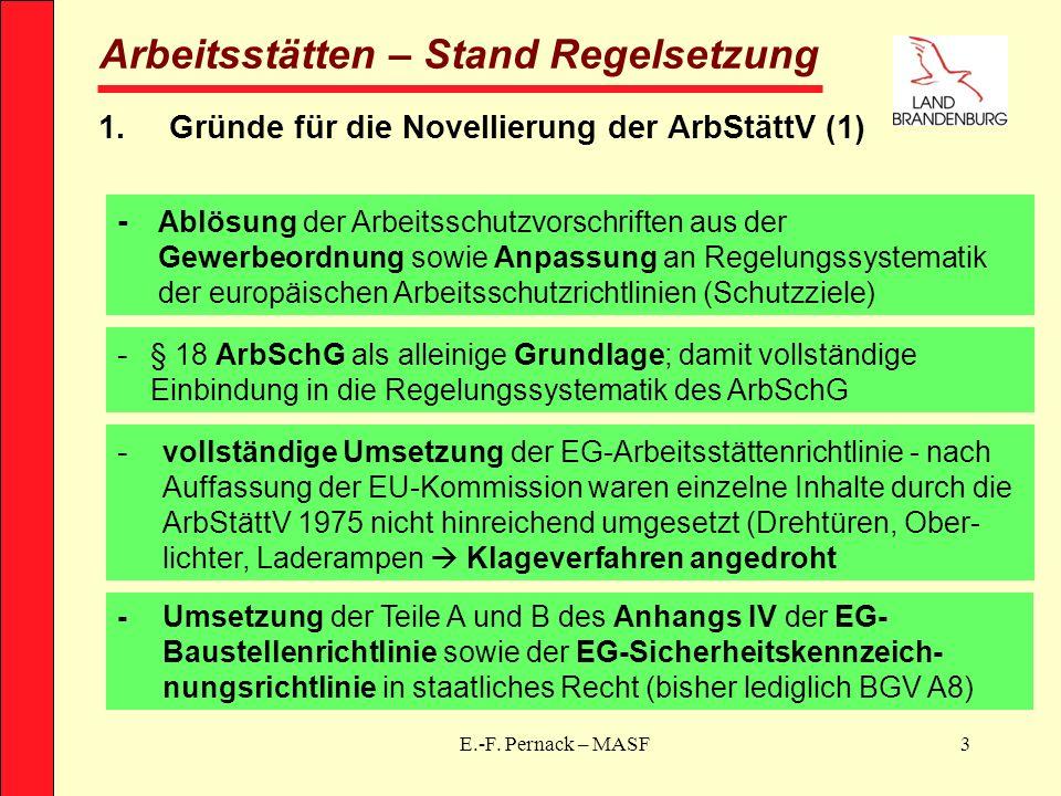 E.-F. Pernack – MASF3 Arbeitsstätten – Stand Regelsetzung 1.Gründe für die Novellierung der ArbStättV (1) - Ablösung der Arbeitsschutzvorschriften aus