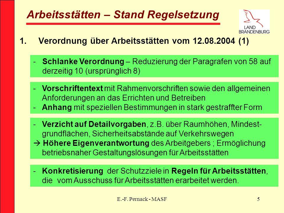 E.-F. Pernack - MASF5 Arbeitsstätten – Stand Regelsetzung 1.Verordnung über Arbeitsstätten vom 12.08.2004 (1) -Schlanke Verordnung – Reduzierung der P