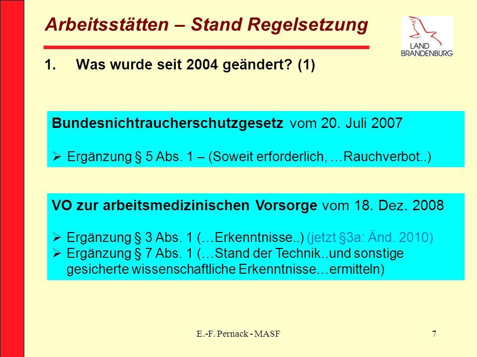 E.-F. Pernack - MASF7 Arbeitsstätten – Stand Regelsetzung 1.Was wurde seit 2004 geändert? (1) Bundesnichtraucherschutzgesetz vom 20. Juli 2007 Ergänzu