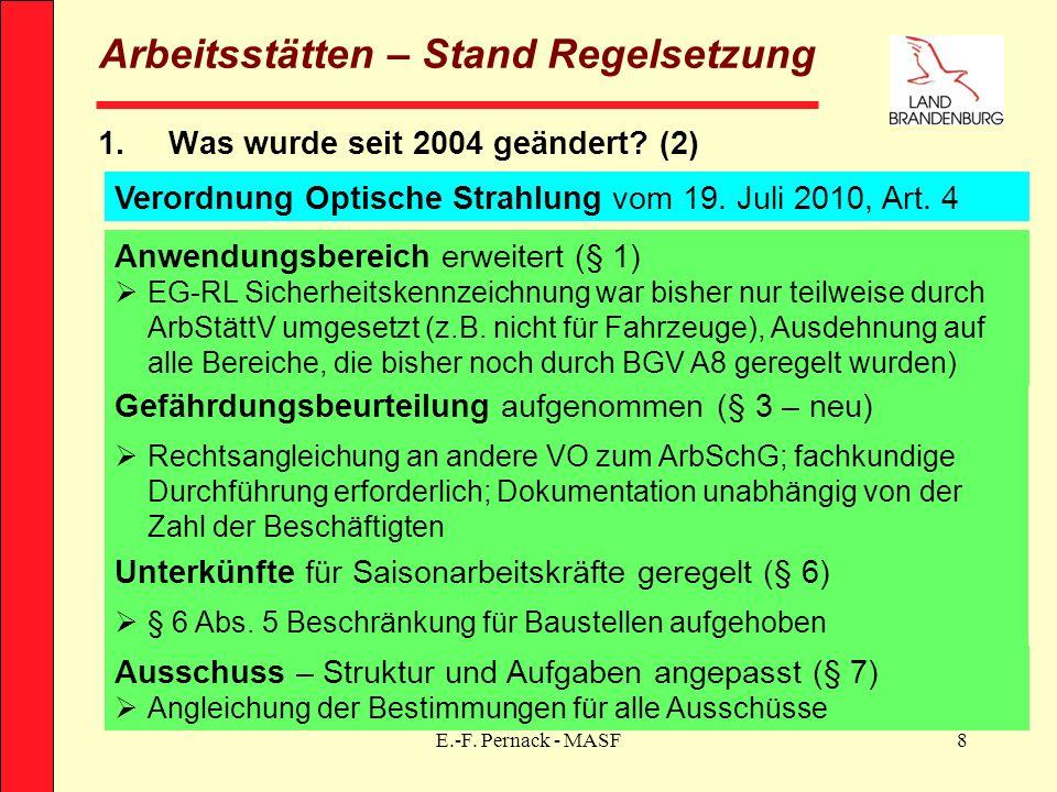 E.-F. Pernack - MASF8 Arbeitsstätten – Stand Regelsetzung 1.Was wurde seit 2004 geändert? (2) Verordnung Optische Strahlung vom 19. Juli 2010, Art. 4