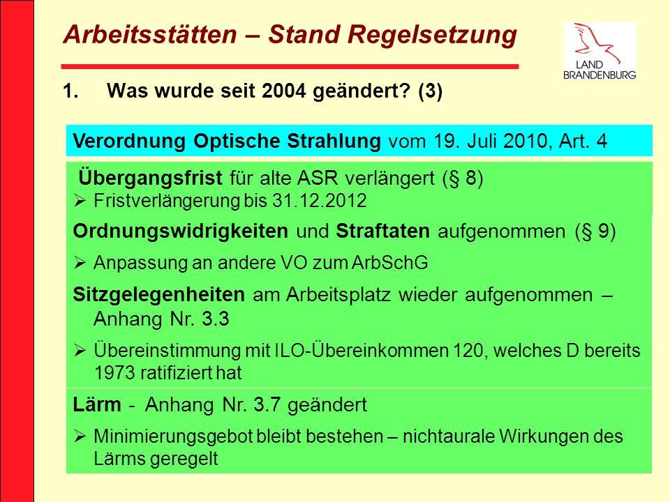 E.-F. Pernack - MASF9 Arbeitsstätten – Stand Regelsetzung 1.Was wurde seit 2004 geändert? (3) Verordnung Optische Strahlung vom 19. Juli 2010, Art. 4