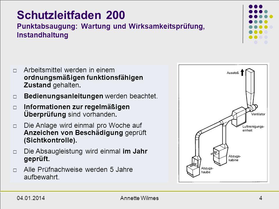 04.01.2014Annette Wilmes5 Schutzleitfaden 200 Punktabsaugung: Weitere Anforderungen Die allgemeinen Anwendungshinweise wurden beachtet.
