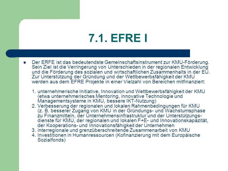 7.1. EFRE I Der ERFE ist das bedeutendste Gemeinschaftsinstrument zur KMU-Förderung. Sein Ziel ist die Verringerung von Unterschieden in der regionale