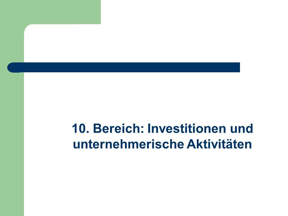10. Bereich: Investitionen und unternehmerische Aktivitäten