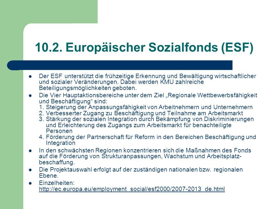 10.2. Europäischer Sozialfonds (ESF) Der ESF unterstützt die frühzeitige Erkennung und Bewältigung wirtschaftlicher und sozialer Veränderungen. Dabei