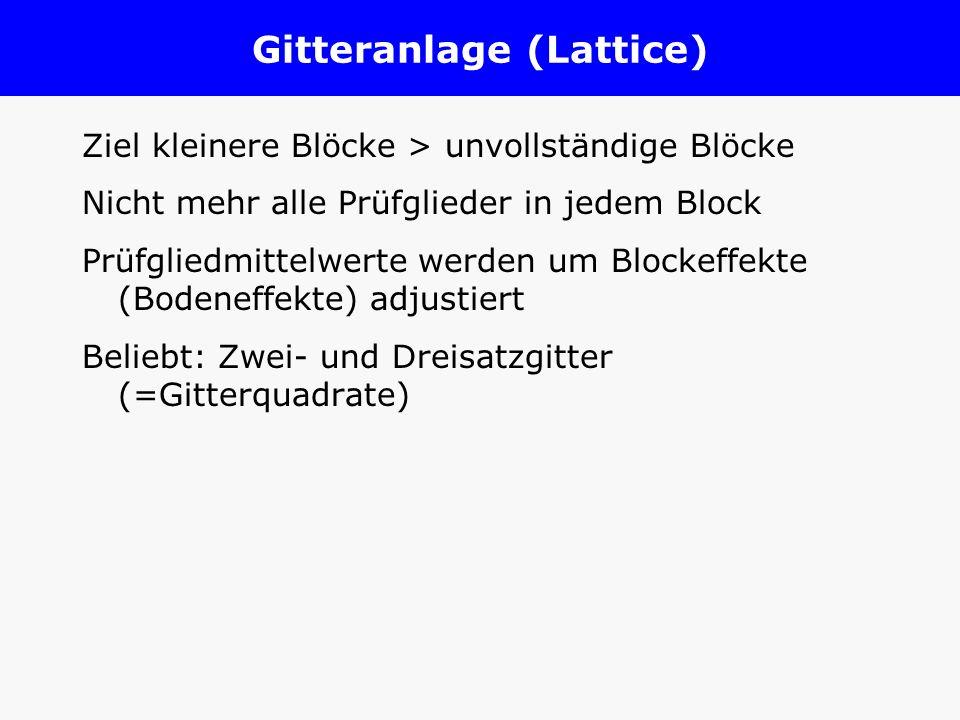 Gitteranlage (Lattice) Ziel kleinere Blöcke > unvollständige Blöcke Nicht mehr alle Prüfglieder in jedem Block Prüfgliedmittelwerte werden um Blockeff