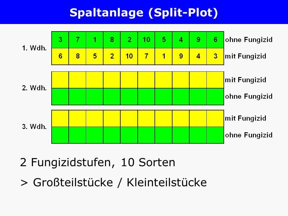 Spaltanlage (Split-Plot) 2 Fungizidstufen, 10 Sorten > Großteilstücke / Kleinteilstücke