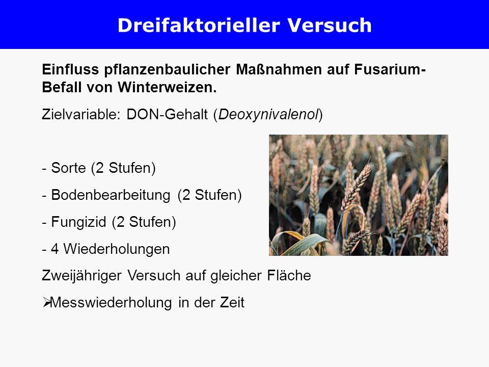 Einfluss pflanzenbaulicher Maßnahmen auf Fusarium- Befall von Winterweizen. Zielvariable: DON-Gehalt (Deoxynivalenol) - Sorte (2 Stufen) - Bodenbearbe