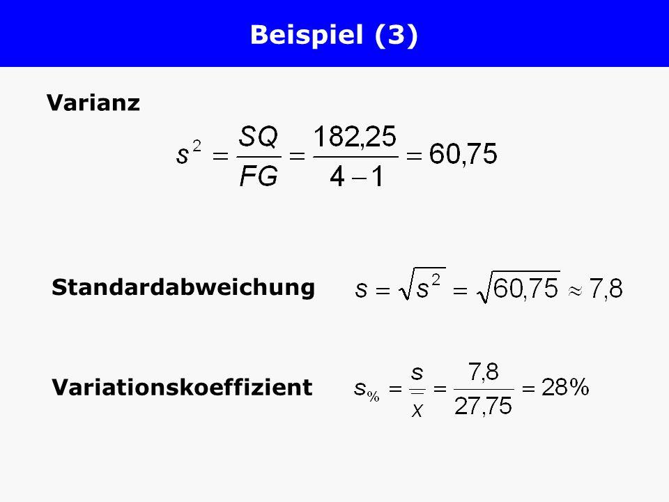 Beispiel (3) Varianz Standardabweichung Variationskoeffizient