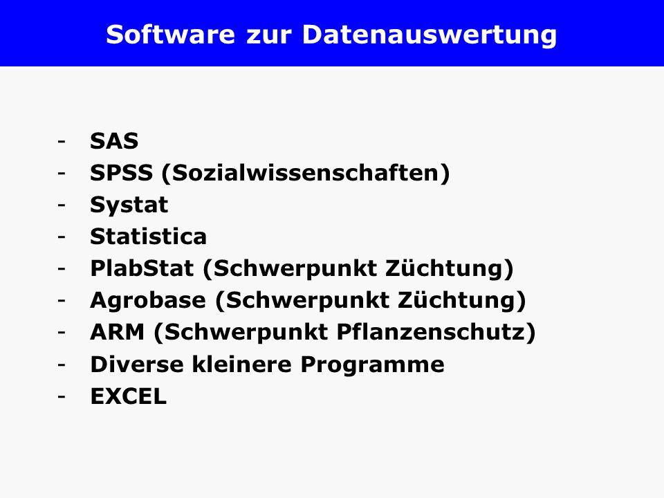 Software zur Datenauswertung -SAS -SPSS (Sozialwissenschaften) -Systat -Statistica -PlabStat (Schwerpunkt Züchtung) -Agrobase (Schwerpunkt Züchtung) -