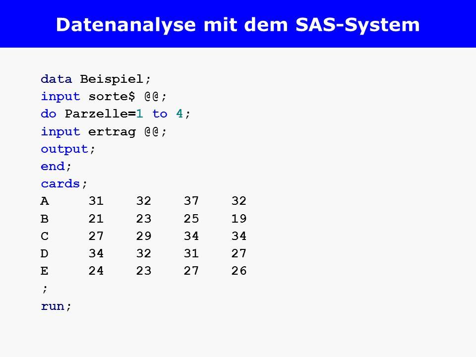 Datenanalyse mit dem SAS-System data Beispiel; input sorte$ @@; do Parzelle=1 to 4; input ertrag @@; output; end; cards; A31323732 B21232519 C27293434