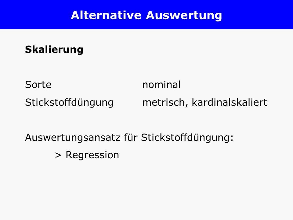 Alternative Auswertung Skalierung Sorte nominal Stickstoffdüngungmetrisch, kardinalskaliert Auswertungsansatz für Stickstoffdüngung: > Regression