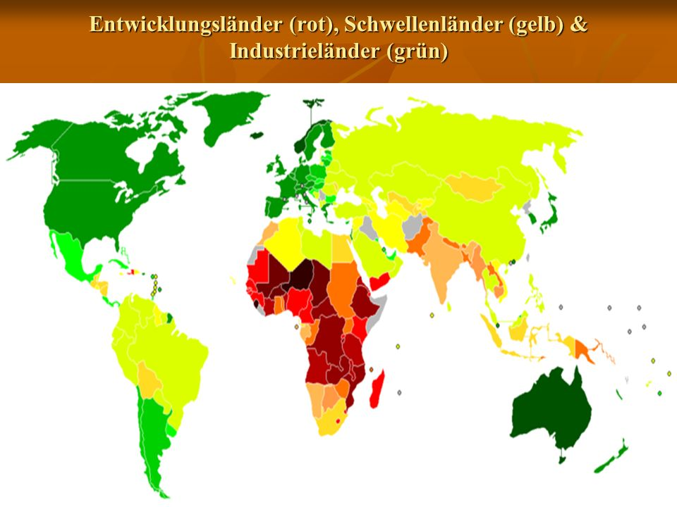 Entwicklungsländer (rot), Schwellenländer (gelb) & Industrieländer (grün)