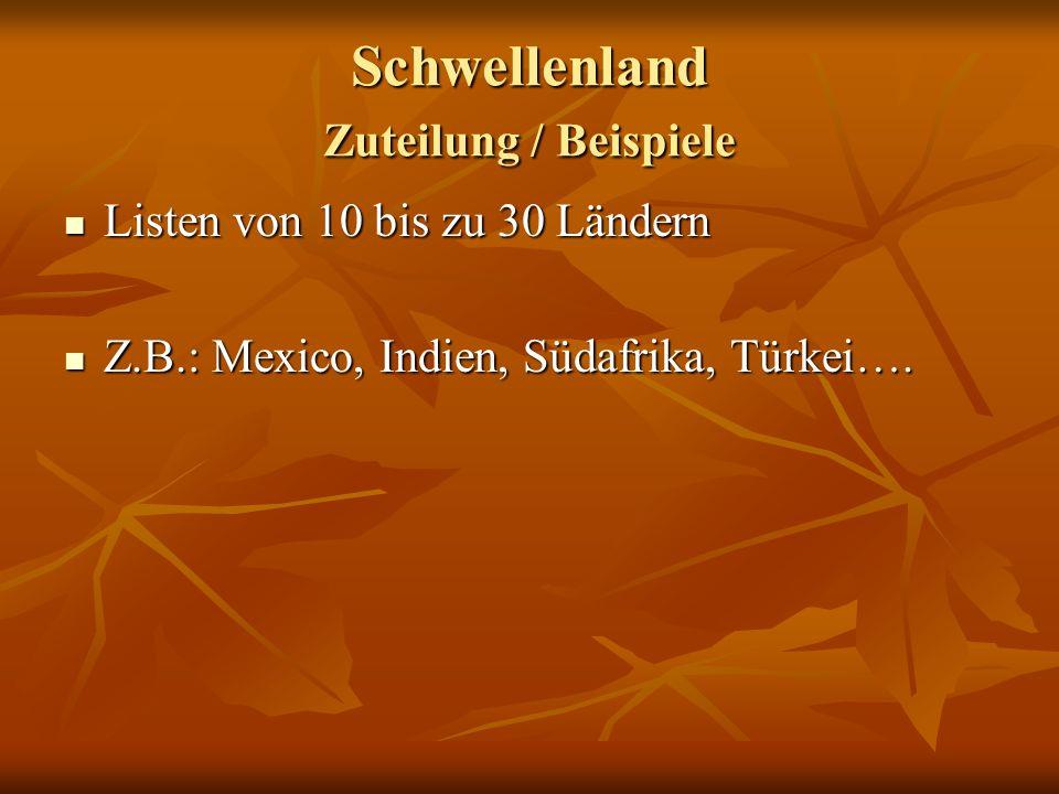 Schwellenland Zuteilung / Beispiele Listen von 10 bis zu 30 Ländern Listen von 10 bis zu 30 Ländern Z.B.: Mexico, Indien, Südafrika, Türkei…. Z.B.: Me