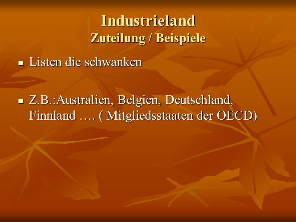 Industrieland Zuteilung / Beispiele Listen die schwanken Listen die schwanken Z.B.:Australien, Belgien, Deutschland, Finnland …. ( Mitgliedsstaaten de