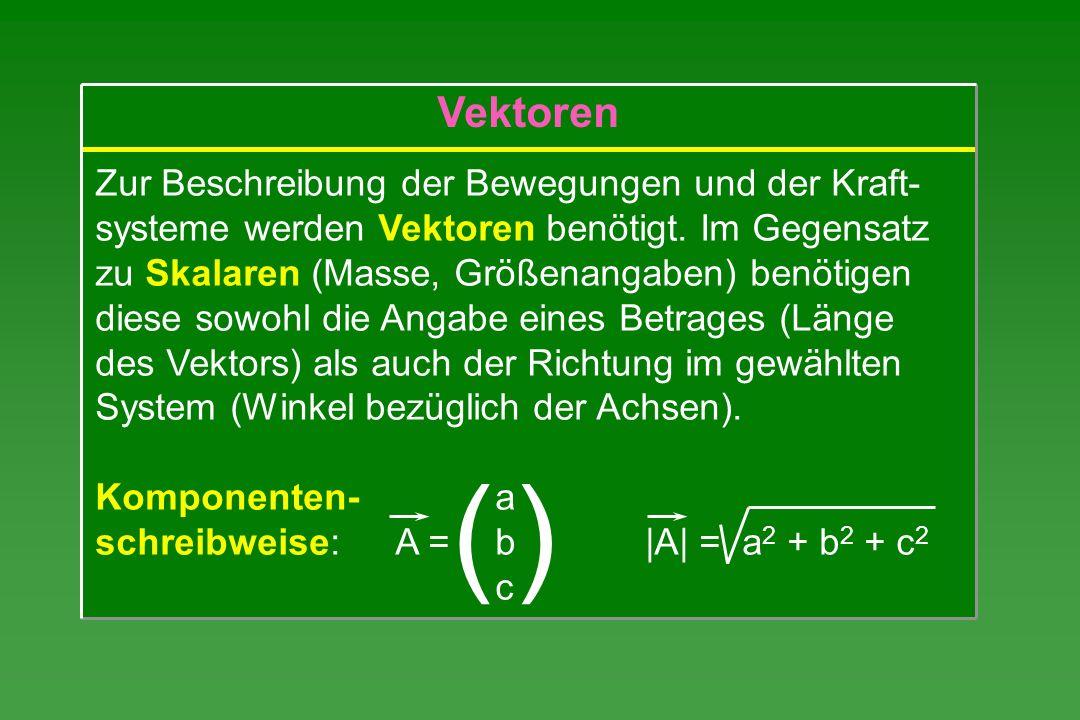 Zur Beschreibung der Bewegungen und der Kraft- systeme werden Vektoren benötigt. Im Gegensatz zu Skalaren (Masse, Größenangaben) benötigen diese sowoh