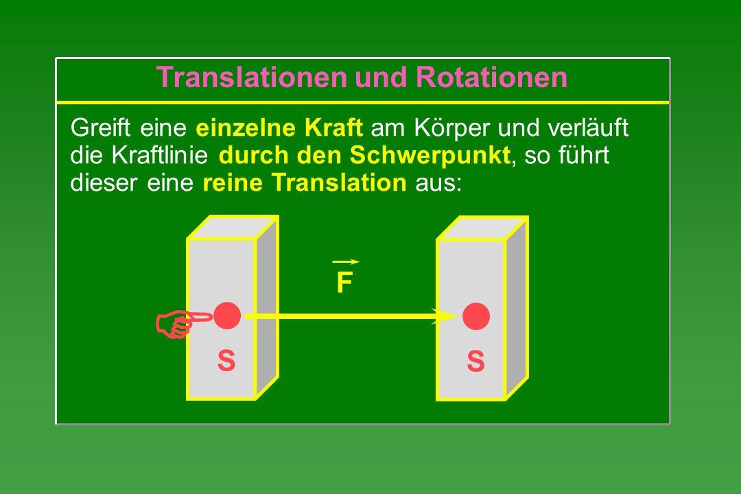 S Greift eine einzelne Kraft am Körper und verläuft die Kraftlinie durch den Schwerpunkt, so führt dieser eine reine Translation aus: S F Translatione