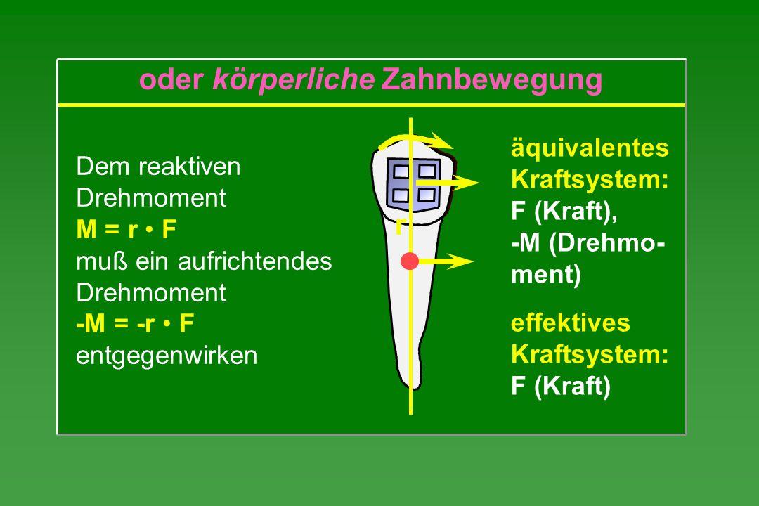 äquivalentes Kraftsystem: F (Kraft), -M (Drehmo- ment) effektives Kraftsystem: F (Kraft) Dem reaktiven Drehmoment M = r F muß ein aufrichtendes Drehmo
