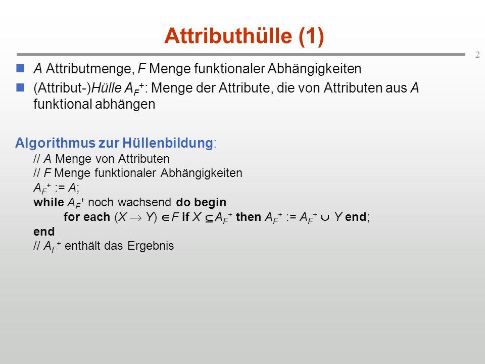 3 Attributhülle (2) // A Menge von Attributen // F Menge funktionaler Abhängigkeiten A F + := A; while A F + noch wachsend do begin for each (X Y) F if X A F + then A F + := A F + Y end; end // A F + enthält das Ergebnis GeoName Material GeoName Gewicht Material Dichte PID X PID Y PID Z FID Farbe FID GeoName (GeoName Farbe) FID Bestimme FID F +