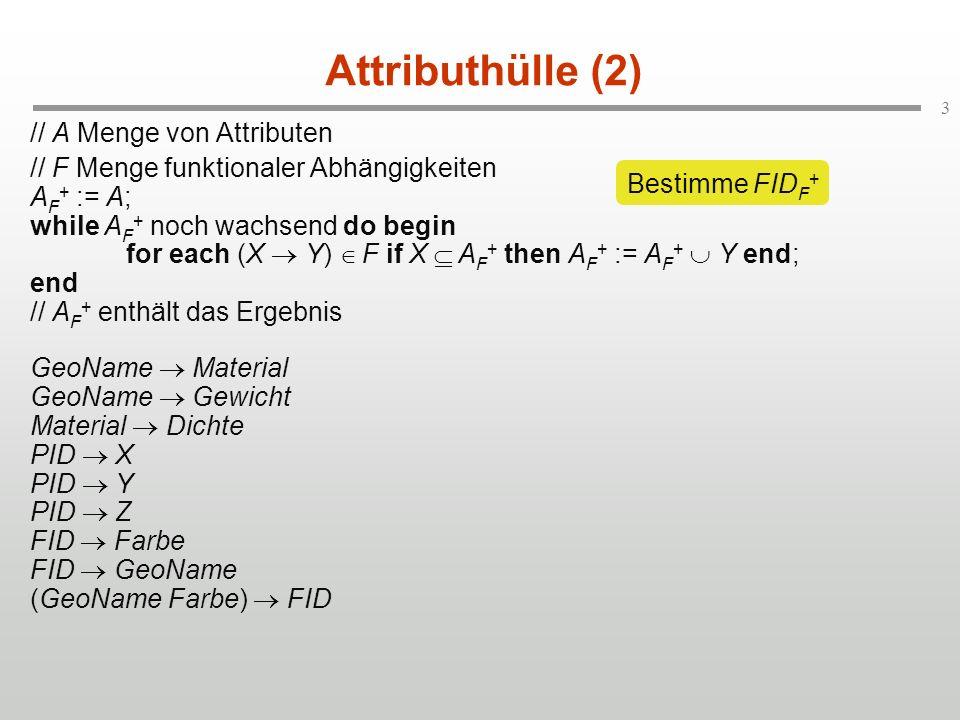 4 Attributhülle (2) // A Menge von Attributen // F Menge funktionaler Abhängigkeiten A F + := A; while A F + noch wachsend do begin for each (X Y) F if X A F + then A F + := A F + Y end; end // A F + enthält das Ergebnis GeoName Material GeoName Gewicht Material Dichte PID X PID Y PID Z FID Farbe FID GeoName (GeoName Farbe) FID FID F + = (FID GeoName Farbe Material Dichte Gewicht)