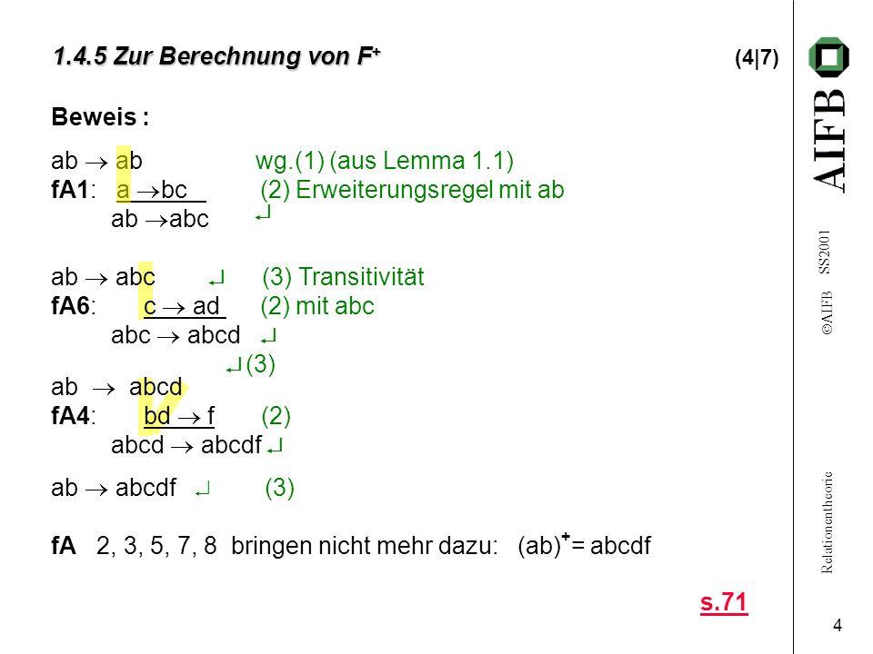 Relationentheorie AIFB SS2001 4 1.4.5 Zur Berechnung von F + 1.4.5 Zur Berechnung von F + (4|7) ab abc (3) Transitivität fA6: c ad (2) mit abc abc abcd (3) ab abcd fA4: bd f (2) abcd abcdf ab abcdf (3) fA 2, 3, 5, 7, 8 bringen nicht mehr dazu: (ab) + = abcdf Beweis : ab ab wg.(1) (aus Lemma 1.1) fA1: a bc (2) Erweiterungsregel mit ab ab abc s.71