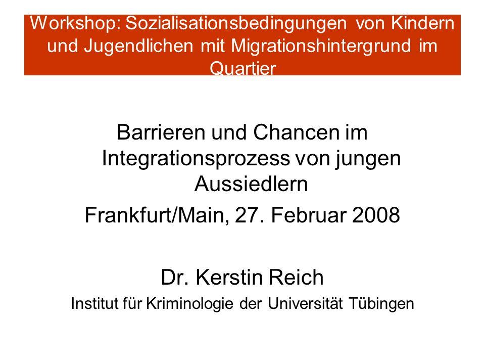 Workshop: Sozialisationsbedingungen von Kindern und Jugendlichen mit Migrationshintergrund im Quartier Barrieren und Chancen im Integrationsprozess vo