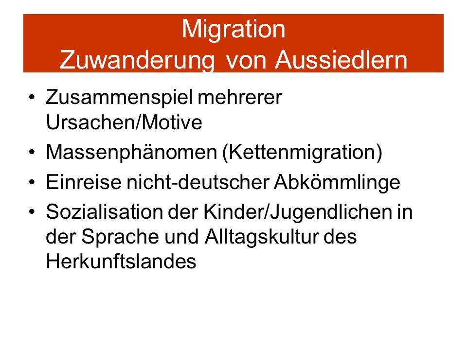 Migration Zuwanderung von Aussiedlern Zusammenspiel mehrerer Ursachen/Motive Massenphänomen (Kettenmigration) Einreise nicht-deutscher Abkömmlinge Soz