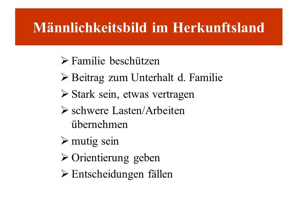 Männlichkeitsbild im Herkunftsland Familie beschützen Beitrag zum Unterhalt d. Familie Stark sein, etwas vertragen schwere Lasten/Arbeiten übernehmen