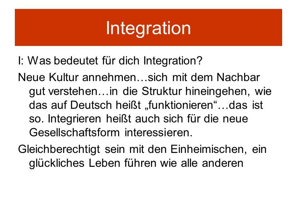 Integration I: Was bedeutet für dich Integration? Neue Kultur annehmen…sich mit dem Nachbar gut verstehen…in die Struktur hineingehen, wie das auf Deu