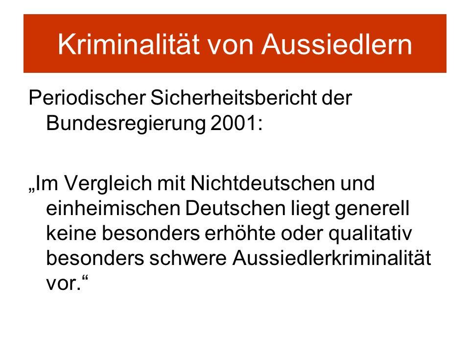 Kriminalität von Aussiedlern Periodischer Sicherheitsbericht der Bundesregierung 2001: Im Vergleich mit Nichtdeutschen und einheimischen Deutschen lie